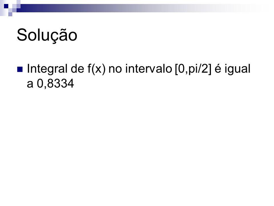 Solução Integral de f(x) no intervalo [0,pi/2] é igual a 0,8334